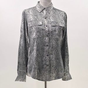 calvin klein snake skin print button up blouse S